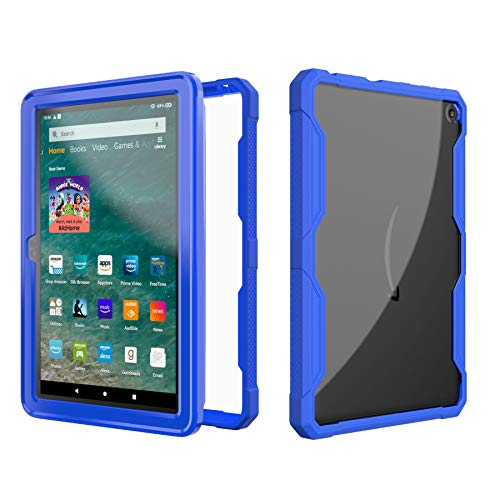 EpicGadget Case for 2020 Amazon Fire HD 8 / Fire HD 8 Plus (10th Generation) - Clear Back Full Body Dual Layer Protective Hybrid Cover Case Support Wireless Charging for HD 8 Plus (Blue)