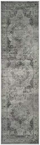 Safavieh Vintage Inspirierter Teppich, VTG158, Gewebter Weiche Viskose-Faser Läufer, Grau / Mehrfarbig, 62 x 240 cm
