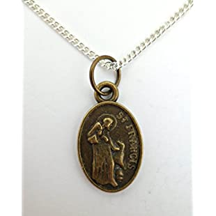 SILVER NECKLACE St Francis Of Assisi Patron Saint Of All Animals Pendant:Anders-als-andere