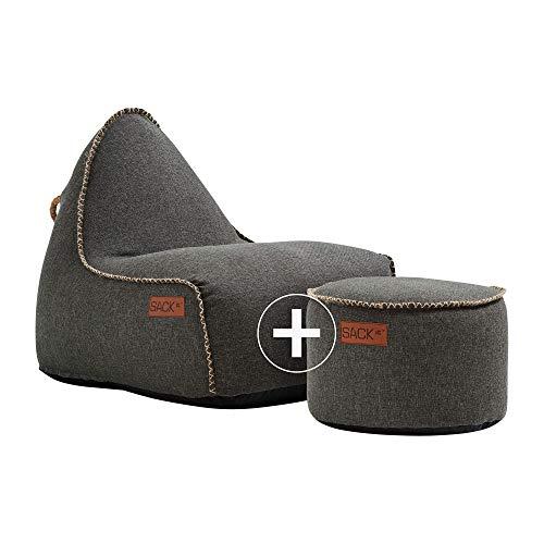 SACKit - RETROit Cobana Grey - Grau Outdoor/Indoor Sitzsack & Sessel mit Lehne - Perfekt für die Lounge, draußen im Garten oder Balkon - Mit einem Hocker - dänisches Design