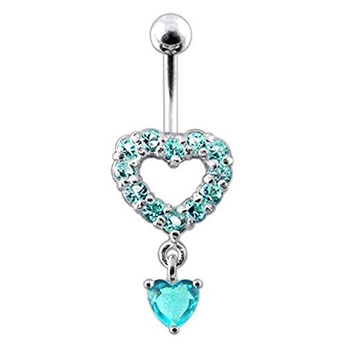 Blue Crystal Stein Trendy Twin Herz Design Sterling Silber Bauch Lichtleisten Piercing