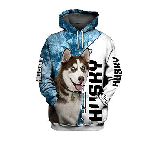 Moda 3D Print Animal Husky Dog Sky Hoodie Hombres Mujeres Harajuku Pet Dog Streetwear Casual Abrigo con...
