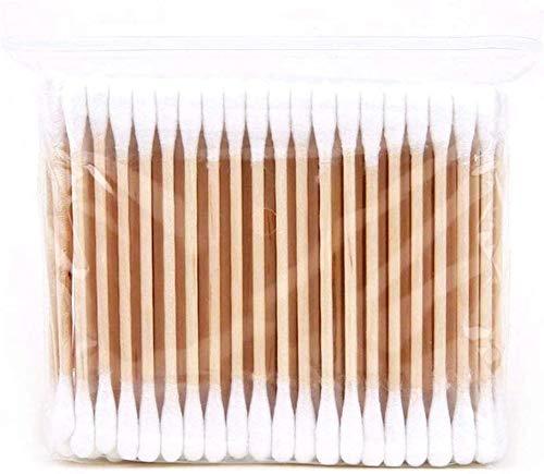HiCollie 100PCS Wattestäbchen Holz Plastikfreie Ohrenstäbchen Bambus Doppelkopf Einweg Wattestäbchen Reinigungsstäbchen 100% Biologisch Abbaubar Vegan Nachhaltig Plastikfrei