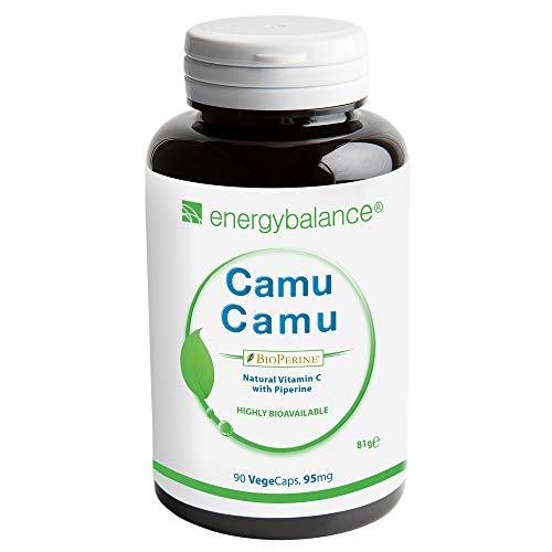 Camu Camu - Vitamine C + BioPérine 95mg - Haute biodisponibilité- Qualité Premium - Antioxydants - Végétalien - Sans gluten - Sans additifs - Sans OGM - 90 VegeCaps