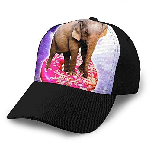 YURONG Unisex 3D Baseball Cap Elefant Reiten Donut im Weltraum Regenbogen Mode Snapback Caps Trucker Hüte Outdoor Hut für Männer Frauen