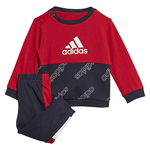 adidas I FAV Jog Set Chándal, Unisex bebé, Escarl/Tinley, 80 (9/12 Meses)