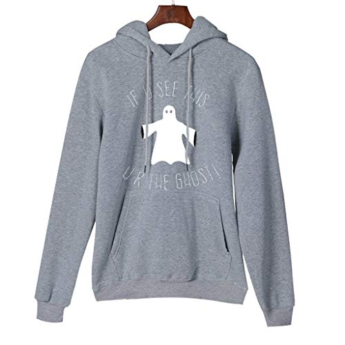 Long Sleeve Hoodies for Women Women Lady's Halloween Ghost Printed Hooded Long Sleeve Top Pullover Sweatshirt Luggage & Travel Gear Gray S