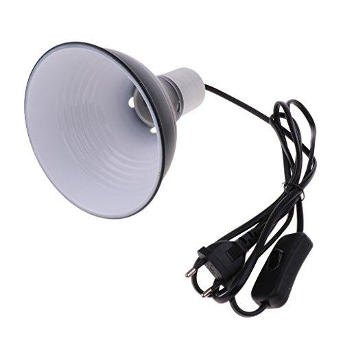 HomeDecTime Aluminium Reflektor-Lampenschirm Wärmelampe UVA/UVB Lampe Halter E27 Lampenfassung mit Kabel und Schalter