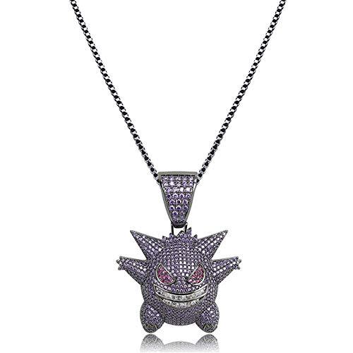 Kmasal Jewelry - Collar unisex con colgante de «gengar», cubierto completamente de cristales y chapado en oro de 18quilates, cadena de eslabones de 61cm