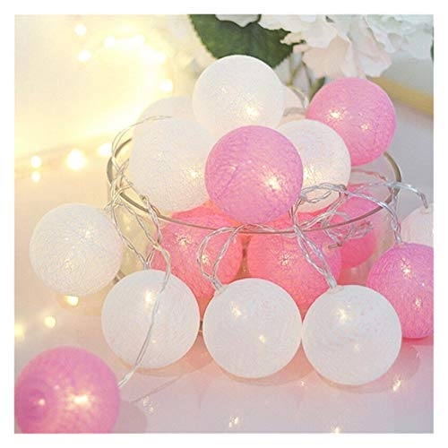 DZHT 2.2m 20 LED Bola de algodón Guirnalda Cadena de luz de Navidad Navidad Navidad Al aire libre Fiesta de boda LED Guirnalda Lámpara de pared de bolas de algodón de la luz de hadas es mejor para la