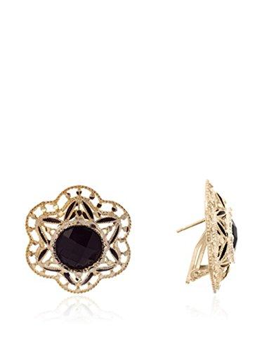 Córdoba Jewels | Pendientes en plata de ley bañada en oro con diseño Flor onix filigrana