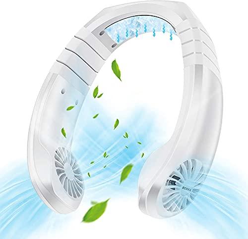 Aire acondicionado portátil Mini Cooler Fan, 3 velocidades Sistema de refrigeración personal Collar, USB Recargable Súper tranquilo Trabajo, Atractivo de cuello a mano para el Viaje al aire libre para
