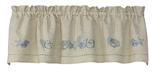 Snapshots Tidal Pool 58 Inches Wide x 14 Inches Long Polyester and Linen Valance Curtain, Linen