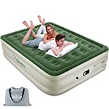 Veken Queen Air Mattress with Built-in Pump, Inflatable 18' Elevated Airbed with Flocked Top, Best Air...