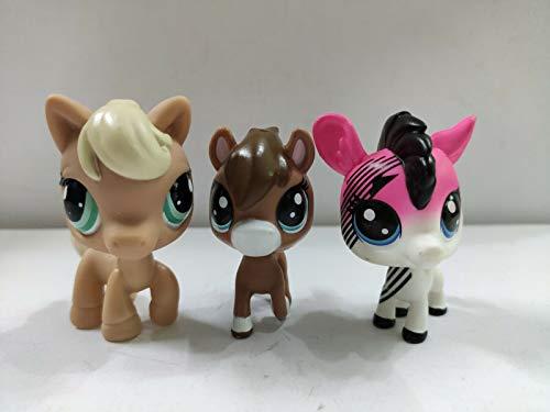 3pcs/Lot Kid Toy Littlest pet Shop LPS Brown Cream Horses Toy