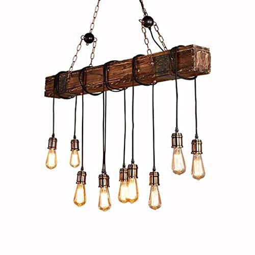 ZWSHOP Lámpara colgante retro americana estilo industrial barra de madera araña altura ajustable E27 lámpara colgante industrial café (10 llamas)