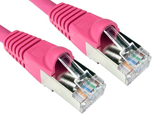 Cable de red CAT6A de 600 MHz de World of Data, Ethernet, LSZH, SSTP, FTP, 10Gbit/s (mil millones de bits por segundo), varios tamaños y colores rosa rosa H: 15m (£12.45)