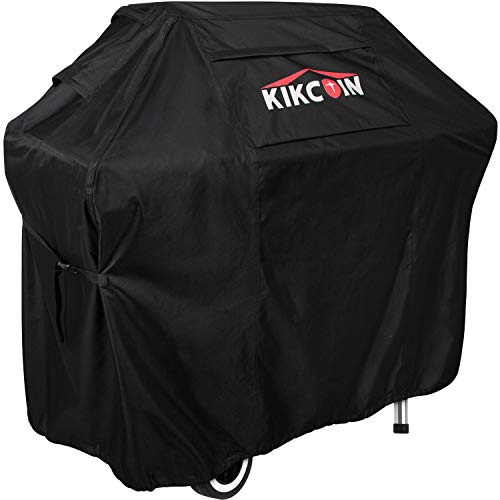 Kikcoin BBQ Grill Cover, 72 Inch Heavy Duty Waterproof Gas Grill Cover with Zipper and Pocket, XX-Large Outdoor Barbeque Cover All Weather Resistant, Rip-Proof, Fade-Resistant Covers Grill