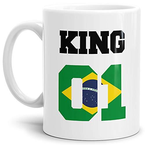 Tassendruck Flaggen-Tasse King - Brasilien - Pokal/Mug/Cup/Becher/WM/Pärchen/Paare/Fre&e/Beste Qualität - 25 Jahre Erfahrung