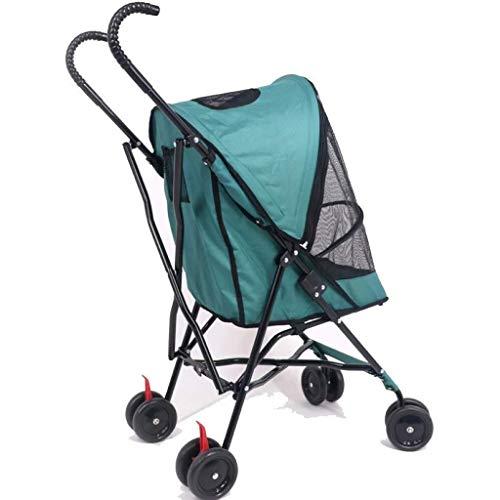 HNWNJ Haustierausstattung Haustier-Kinderwagen-Haustier-Reisekatze und-Faltungs- und Leichter Tragegürtel (Color : Green)