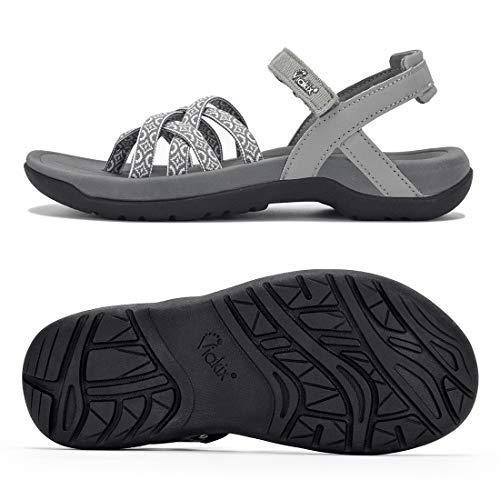 Viakix Damen Wandersandalen – Komfortable, stilvolle athletische Sandalen mit Fußgewölbeunterstützung, für Wandern, Outdoor, Reisen, Sport, Grau (Wolke), 43 EU