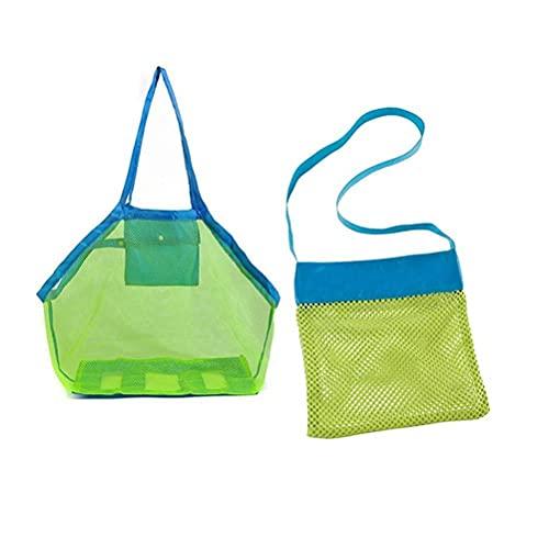 Stor nätstrandväska för leksaker, 2 st/set barns strandnätväskor för barn skalväskor strand sandleksaker förvaringsväskor för barn simning pool resor sandskor våta handdukar