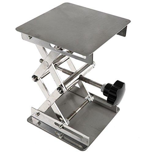 Roestvrijstalen laboratoriumstandaard tafel schaarlift, 4 x 100 mm