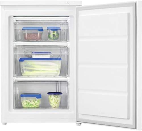 Zanussi ZYAN8EW0 Congelador Vertical mini, Libre instalación, 84,5 cm, Capacidad 85 Litros, Control mecánico, Congelación rápida, 3 Cajones, Puerta Reversible, Blanco