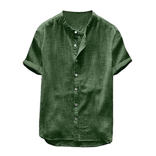 YEBIRAL Leinenhemd Herren Kurzarm Button-down Sommerhemd Männer Einfarbig Freizeithemd Casual Hemd Shirt Bequem Atmungsaktiv Regular Fit(L,Grün)