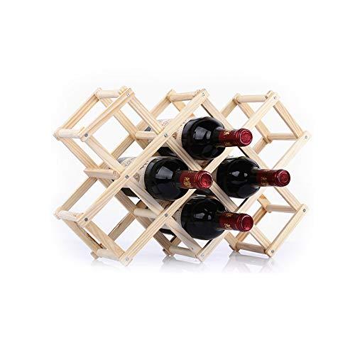 YQQ-casier à vin en Bois Massif Étagère De Vin De Ménage Casier À Vin Pliant Cave À Vin De Salon Présentoir en Bois (Couleur : Couleur du Bois, Taille : 10)