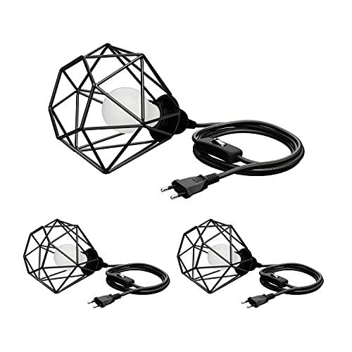 ledscom.de Draht-Leuchte klein, Textilkabel LEKA schwarz, Stecker, Schalter, 3m, inkl. E27 Lampe 780lm warmweiß, 3 Stk.