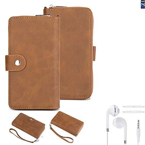 K-S-Trade 2in1 Handyhülle Für General Mobile GM 6 + Kopfhörer Schutzhülle und Portemonnee Schutzhülle Tasche Handytasche Hülle Etui Geldbörse Wallet Bookstyle Hülle Braun (1x)