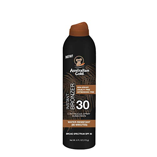 Australian Gold Continuous Spray Sunscreen with Instant Bronzer SPF 30, 6 Ounce   Immediate Glow & Dries Fast   Broad Spectrum   Water Resistant   Non-Greasy   Oxybenzone Free   Cruelty Free