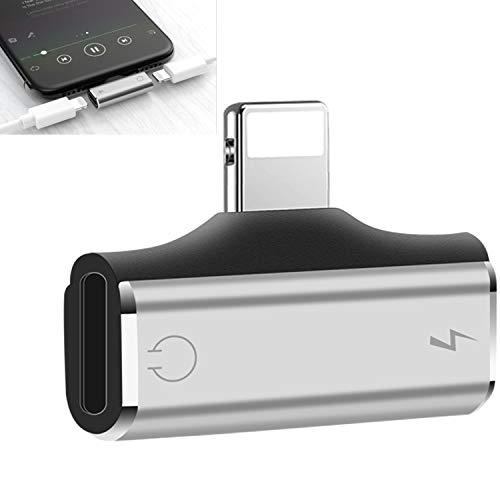 Adaptador de Auriculares para iOS 12 y Superior,Divisor Adaptador Conector de Auriculares para i-Phone 12/12 mini/12 Pro/12Pro Max/7/8/XR/X/XS,etc.[Música+Carga+Control de Volumen+Llamada+Voz Vivir]