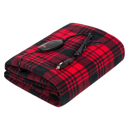 Sojoy iHealthComfort 12V Electric Heated Travel Blanket with Intelligent High Medium Low Temp 30/45/60mins Auto-Off Timer Controller(60'x 40')