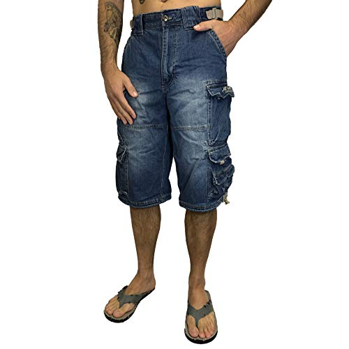Jet Lag Short 007 S kurze 3/4 Hose Bermuda Short in olive beige schwarz Jeans blau, Jeans-blau, 3XL