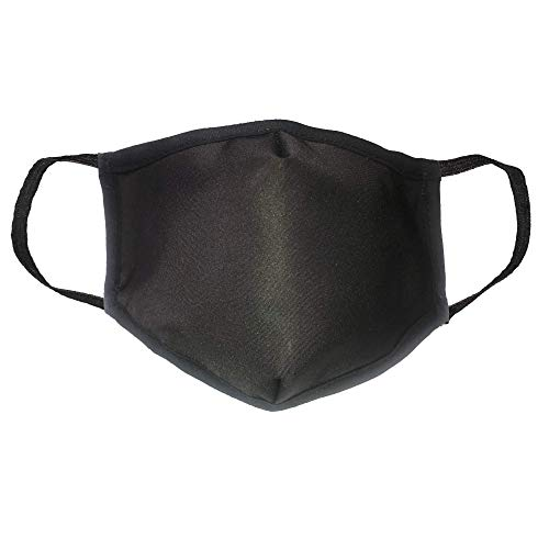Adult Washable, Filtered PPE Mask (Black, Large)
