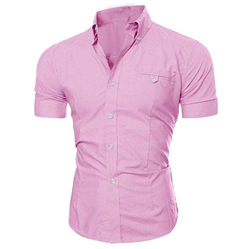 Manadlian-Homme Chemise à Poche Boutonné Chemisette à Manche Courtes T-Shirt Été Décontractée O Neck Pullover Blouse M-3XL