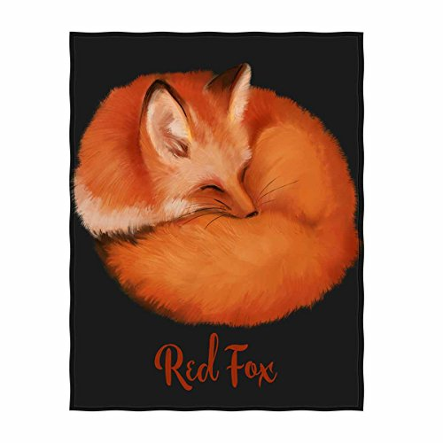 QH 58 x 80 Inch Red Fox Print Super Soft Throw Blanket for Bed Couch Sofa Lightweight Travelling Camping Throw Size for Kids Adults All Season
