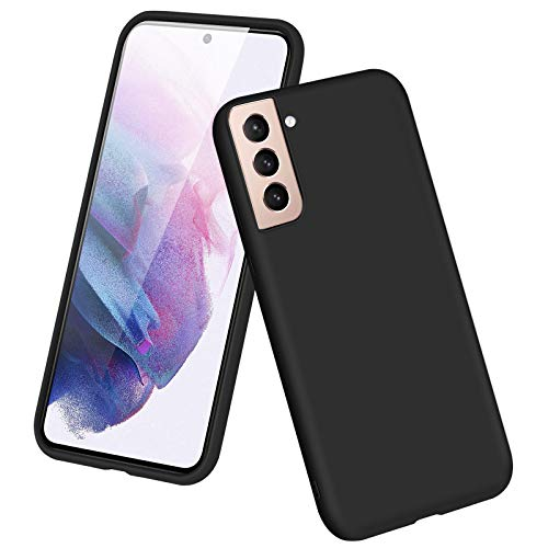 Aiitiluo Compatible with Samsung Galaxy S21 Case Slim Fit Smooth Silicone Case with Shockproof Full Body Protection Designed for Galaxy S21 6.2'- Black