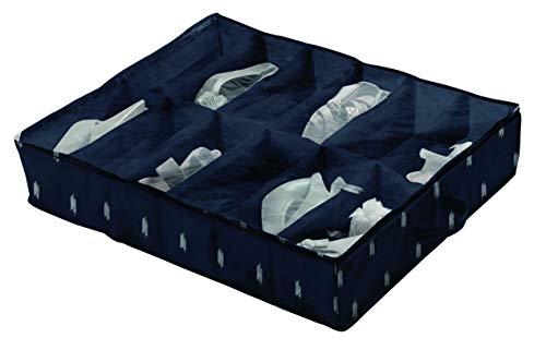 Compactor Bolsa de almacenamiento de zapatos, Gama Kasuri, Color azul, Tamaño 76 x 60 x 15 cm, Capacidad para 12 pares, Ventana transparente, RAN8047