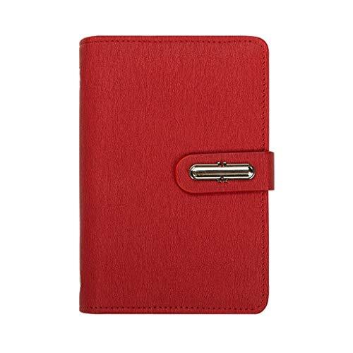 yangdan Cuaderno de hojas sueltas HF A7, bloc de notas, pequeño cuaderno de bolsillo portátil, cuaderno de discos con diario (color rojo)
