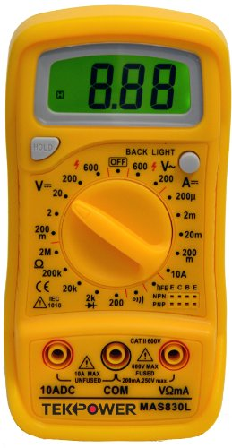 Tekpower MAS830L AC/DC 600V, DC 10A Digital Multimeter with Continuity Test & Back-lit Display,MS8268 Series,Tekpower OEM