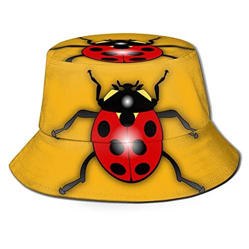 Cartoon Ladybug Bucket Hats for Women Sun Beach Hat Teens Girls Wide Brim Summer Fisher Man's Bucket Caps