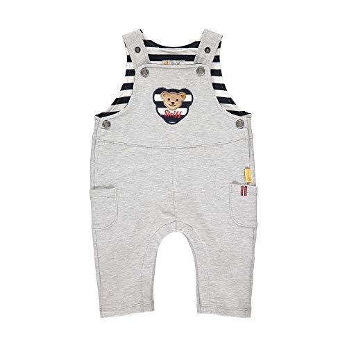 Steiff Baby-Jungen mit süßer Teddybärapplikation Latzhose, Soft Grey Melange, 080