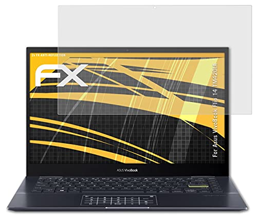 atFolix Panzerfolie kompatibel mit Asus VivoBook Flip 14 TM420IA Schutzfolie, entspiegelnde & stoßdämpfende FX Folie (2X)