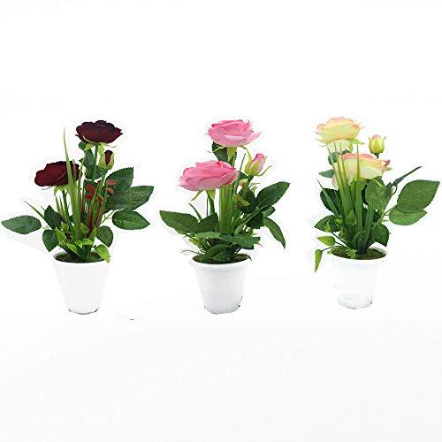 Unishop Set de 3 Macetas de Rosas Artificiales de Colores, Ramos de Flores Pequeñas Artificiales, Flores para Decorar Interior, Plantas Decorativas Falsas para Hogar