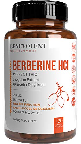 Premium Berberine HCL 730mg - 120 VCAPS Perfect Trio Complex with Non-GMO Jiaogulan & Quercetin, Support Blood Sugar Health & Glucose Metabolism, Immune, Cardiovascular, Gastrointestinal Function