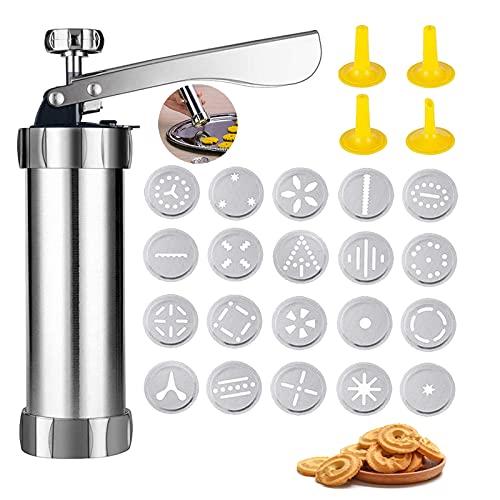 Cookie Maschine Cookie Press Set Cookie Maker 25 Stück Edelstahl Biscuit Set Press Maker Kit Home Biscuit Für Dünnen Teig Mit 20 Scheiben Und 4 Rohrdüsen Zum Backen Und Dekorieren Von Kuchen