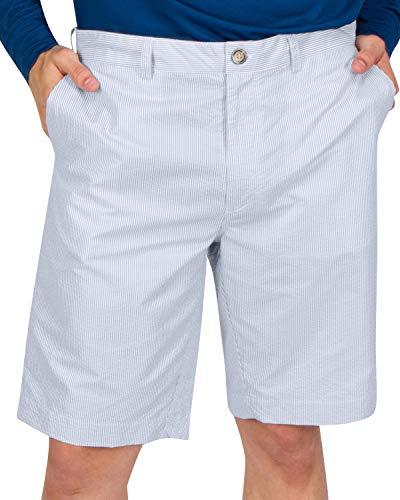 Three Sixty Six Seersucker Golf Short for Men - Quick Dry Casual Walk Shorts - 10 Inch Inseam Sky Blue